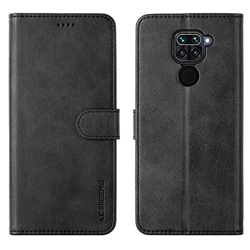 FUNMAX+ Redmi Note 9 Hülle, PU Leder Handyhülle mit 3 Kartenfächer, Schutzhülle Hülle Tasche Magnetverschluss Flip Cover Stoßfest für Xiaomi Redmi Note 9 (Schwarz)