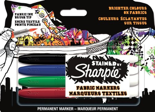 Sharpie - Juego de rotuladores para tela (4 unidades, tinta indeleble negra, azul, roja y verde)