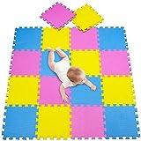 meiqicool 18 Pcs Alfombra Puzzle Infantiles 142x114 cm Rosa Amarillo y Azul Goma Espuma Alfombrillas para Puzzles 030507