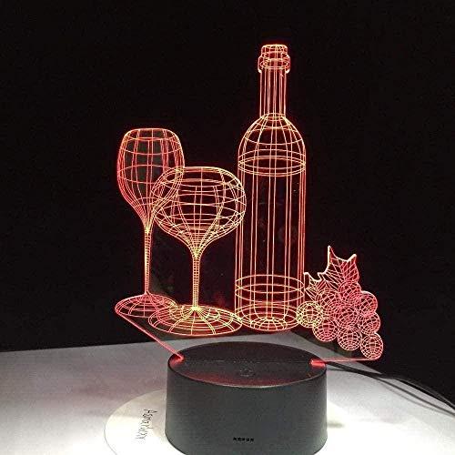 3D Illusion Lamp Botella de vino -3D LED Luz Nocturna para Niños, 7 Colores Cambian con Control Remoto, Regalos para Niños Niñas
