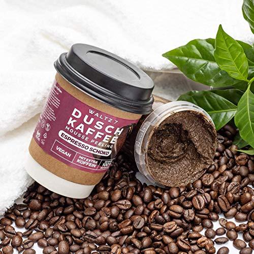 Waltz7 Duschkaffee Body Scrub, Körperpeeling mit Espresso Schoko Geschmack, Körperpflege mit echtem Kaffee und natürlichen Ölen, ÖKO Testnote SEHR GUT (1 Stück)