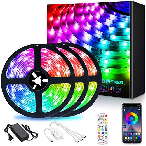 AMBOTHER LED Streifen, 12M(3x4M) RGB LED Strip steuerbar via App, 5050SMD 360 LEDs Lichtband, LED Band mit Fernbedienung Netzteil, Sync mit Musik, Dimmbar Selbstklebend für TV Hintergrundbeleuchtung