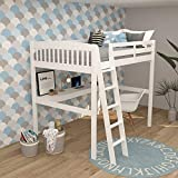 High Loft Wood Bed with Desk, Yes4wood Everest, 100% Pine (Full, White)