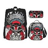 Guns'N-Roses-Skull Illustration (2) Mochila de viaje para acampar juvenil, mochila escolar de 3 piezas, bolsa escolar+bolsa de almuerzo combinación