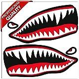 SkinoEu® 2 x PVC Laminado Adhesivos Pegatinas Dientes de Tiburón para Motociclista Autos Coches Motos Ciclomotores Bicicletas Ordenador Portátil Regalo B 64