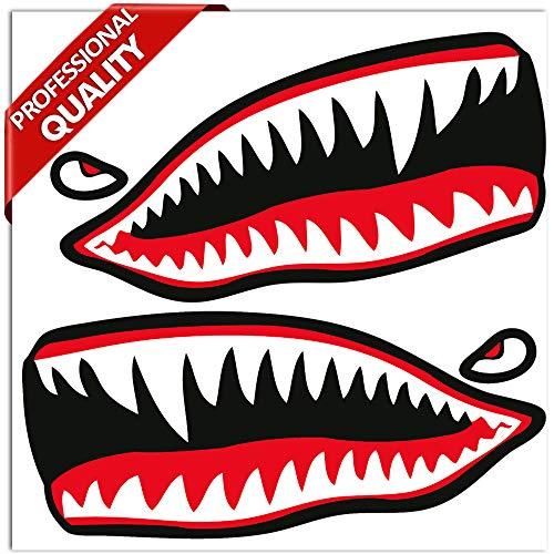 SkinoEu® 2 Stück Vinyl Aufkleber Autoaufkleber Rot Haifischmaul Zähne Haifisch Shark Teeth Fischen Meerestier Fischerboot Stickers Spiegel Auto Moto Motorrad Fahrrad Helm Fenster Tür Tuning B 64