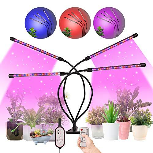 Herefun Pflanzenlampe LED, 4 Heads 80LEDs Vollspektrum Pflanzenlicht, Pflanzenleuchte für Zimmerpflanzen mit Zeitschaltuhr 360°Einstellbar LED, 3 Timer 4/8/12 Stunde Zimmerpflanzen Wachstumslampe