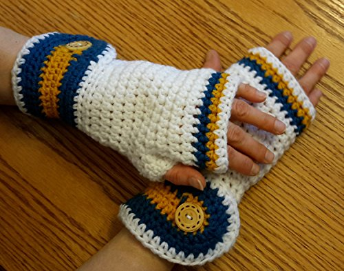 Crochet Fingerless Gloves. White gold and blue Made by Bead Gs on AMAZON. ladies size