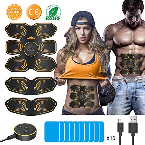 AABS Stimulator, ANLAN EMS Abdominal Toning Belt Muscle Toner 8 Pack with LCD Remote Control Abs Trainer USB Rechargeable for Abdomen Arm Leg Men Women