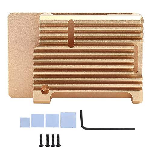 Caja de caja dorada de aleación de aluminio, Caja de caja de disipación de calor efectiva, Caja de caja de proyecto de bricolaje duradera universal, Dispositivo de enfriamiento, No se oxida fácilmente