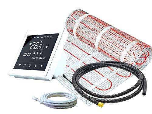 Elektrische Fußbodenheizung für Fliesen 160 W/m² Basic - Komplett-Set mit Thermostat RT-50 touch/weiß (1 m² - 0,5 x 2 m)
