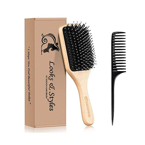 Beauty Shopping Hair Brush, Sosoon Boar Bristle Paddle Hairbrush for Long Short
