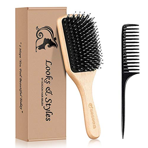 Hair Brush, Sosoon Boar Bristle Paddle Hairbrush for Long Short Thick Thin Curly Straight Wavy Dry for Men Women Kids, No More Tangle, Giftbox & Tail Comb Included