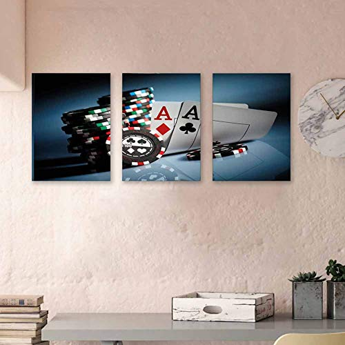 "Poker Tournament Decorations Paintings Oil Gambling Chips and Pair Cards Aces Casino Wager Games Hazard Fashion Prints Wall Print Posters for Boys Room Decor, 24""x47""x3 Piece Multicolor"