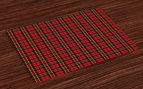 ABAKUHAUS A Cuadros Salvamantel Set de 4 Unidades, Antiguo Celta británica, Material Lavable Estampado Decoración de Mesa Cocina, Rojo Negro Amarillo