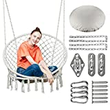Greenstell Swing Chair with Hanging Kits and Cushion, Hanging Cotton Rope Hanging Chair, Comfortable Sturdy Hammock Chair for Indoor Outdoor Patio Yard Garden (Beige)