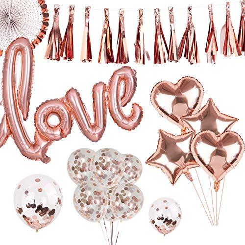 INHEMI 25 Stück Rosegold Love Luftballon, Dekoration für Romantische Atmosphäre, Heiratsantrag, Valentinstag Hochzeit Deko