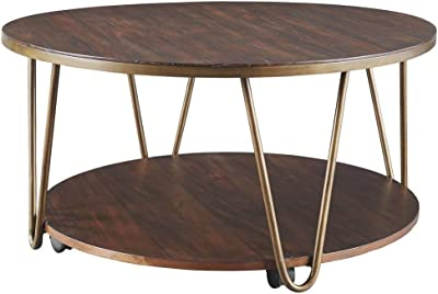 Signature Design by Ashley Lettori Round Cocktail Table Brown