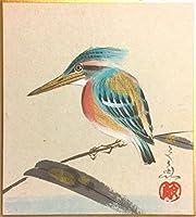 中谷文魚 『川蝉』 ミニ色紙絵(寸松庵)