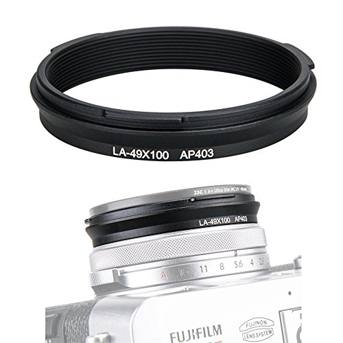 49mm Metal Lens Filter Adapter Ring for Fujifilm Fuji X100V X100F X100T X100S X100 X70 Camera & Wide Conversion Lens WCL-X100 II Installing UV CPL ND Filter Lens Cap Replace Fujifilm AR-X100 Black