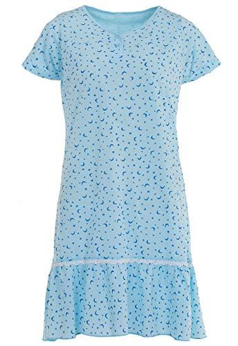 LUCKY Nachthemd Kurzarm Sterne Volant Spitze Schlafshirt Knöpfe, Größe:L, Farbe:Blau
