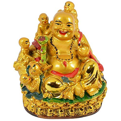 Odishabazaar Happy Man Laughing Buddha Holding Ru Yi and Sitting with 5 Kids/Five Children for Attracting Happiness in Family (3.5'x3')