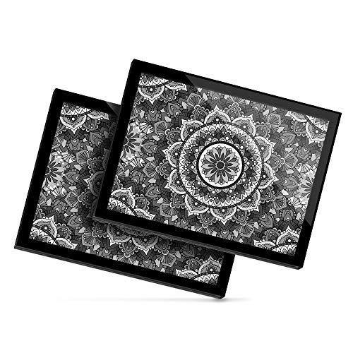 Destination 35545 - Mantel individual de vinilo (20 x 25 cm), diseño de flores de mandala, color blanco