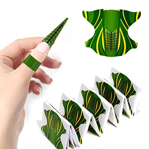 MWOOT 100 Stück Nagelschablonen, Nagelkunst Nagelform Schablone, Selbstklebend Verlängerungsfolie Aufkleber, Nagelverlängerung Modellierschablonen - Grün Nailart Nail Form Guide Sticker