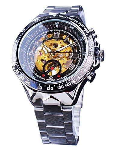 Vincitore meccanico orologio da polso scheletro quadrante trasparente acciaio sport design