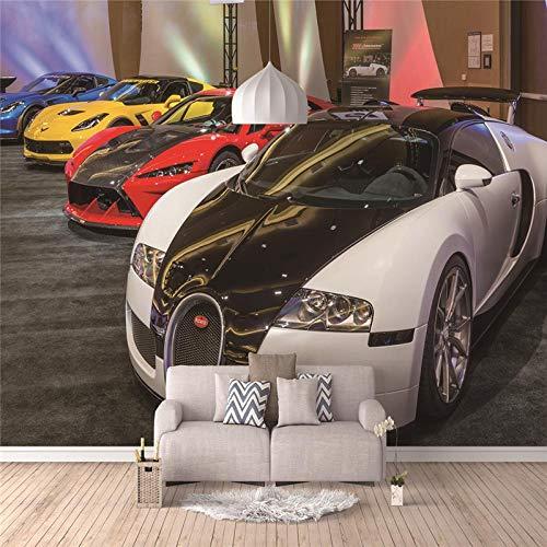 Fotomurales En Blanco Y Negro 3D Art Mural Para La Sala de Estar Tv Sofá Pared Decoración No Tejida(Autos de Lujo Mundial)400(W) X280(H) cm