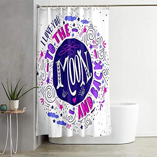 Wasserdicht Duschvorhang 180 x 200cm,Anti-Schimmel Anti-Bakteriell Waschbar Polyester Stoff Duschvorhänge 3D Digitaldruck Duschvorhänge mit 12 Duschvorhangringen - Weiße Buchstaben