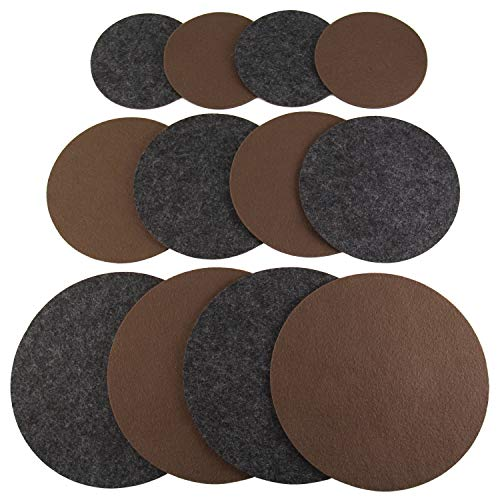 Drymate Plant Coaster Mat Reversible (Charcoal/Brown), (Set of 12), (4 of Each Size - 6, 8, 10), (Round/Fabric), Absorbent/Waterproof - Protects Surfaces, Contains Liquids (Made in The USA)