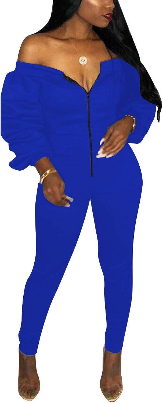 Mycherish Women's Off Shoulder Zip Ruffle Long Sleeve Tube Top Long Pants Set Bodycon Sheath Jumpsuits Outfits