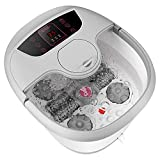 Foot Spa with Heat and Massage Bubbles, Foot Bath Massager w/Motorized Shiatsu Massage Ball and Maize Roller, Foot Pedicure Stone Soaker, Adjustable Temperature Control, Red Light, Multi-Modes