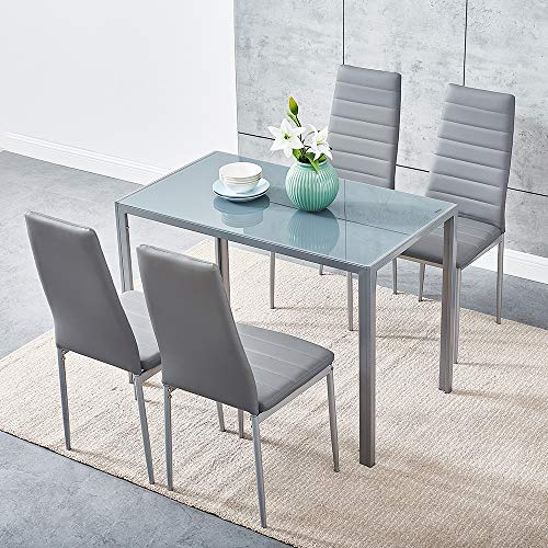 Panana Modern Gorgeous 105CM Glass Dinning Table With 4 Faux Leather Chairs Set (105cm Grey Table+4chairs)