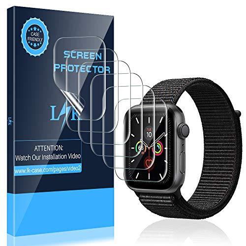 LK 6 Stück Schutzfolie für Apple Watch Series 5 44mm und Series 4 44mm Folie, [Kompatibel mit Hülle] [Blasenfreie] Klar HD Weich TPU Displayschutz