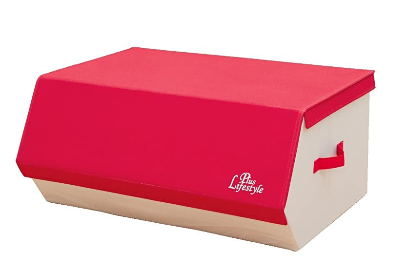 塗抹素子までスタッキングボックス フタ付き 布ファブリック収納ボックス『 NP-154 』3個セット【IT】【tm-P】Lサイズ レッド(#9810652x3)