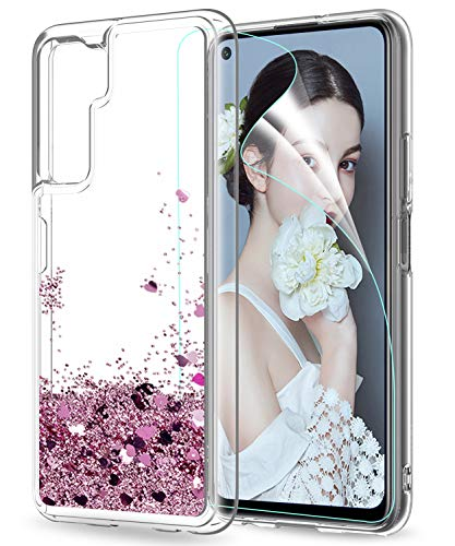 LeYi für Huawei P40 lite 5G Hülle Glitzer Handyhülle mit HD Folie Schutzfolie,Cover TPU Bumper Silikon Clear Schutzhülle für Case Huawei P40 lite 5G Handy Hüllen Rosegold