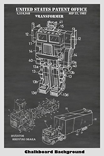 Optimus Prime Transformer Toy Patent Print Art Poster: Choose From Multiple Size and Background Color Options