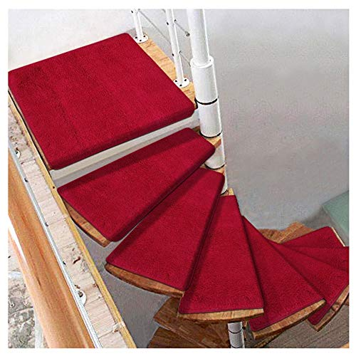 Carpets Stairs Treads For Steps Self-Adhesive Stair Treads Mats Pad Non-slip Step Protection Rug Cover Stair Carpet Spiral Stair Mat Red (Color : Turn left, Size : 1pcs 7033/12 cm)