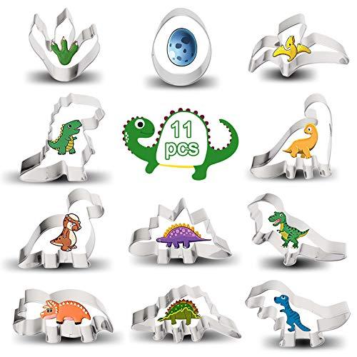 Sinwind Dinosaurier Plätzchen Ausstecher, Dinosaurier Keksausstecher Groß, Dinosaur Ausstechform aus Edelstahl, DIY Fondant Plätzchenausstecher Keksschneider Set für Kinder Geburtstag Party Deko