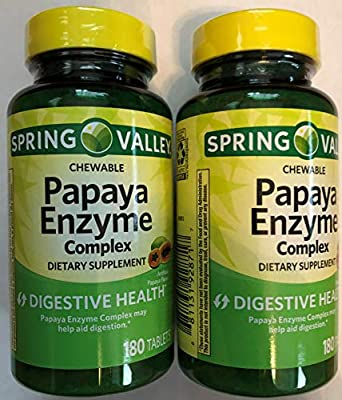 Spring Valley Papaya Enzyme, 180 Chewable Tablets (2 Pack)