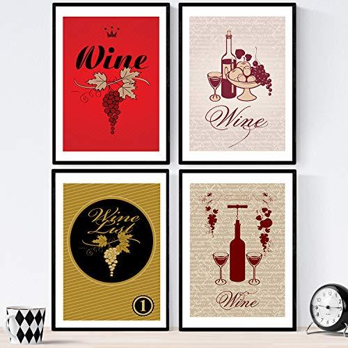 Nacnic Set de láminas de vino. Posters de vino y bodega. Vino vintage 1. Tamaño A3