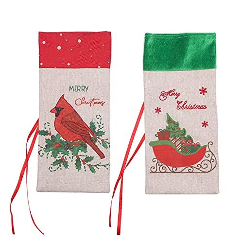 NZXVSE 2 fundas para botellas de vino de Navidad, bolsas de vino de lino de Navidad, vestido de botella de vino de Navidad, decoración de vino, bolsas de regalo para Navidad