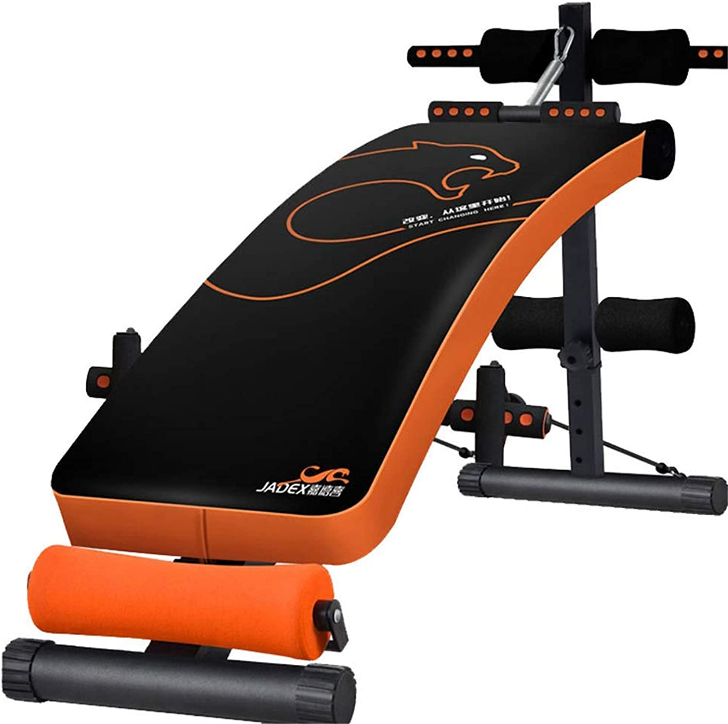Adjustable Weight Bench Sit Up Bench Foldable Multipurpose Abdominal Trainer with Beef Tendon Rope Spring Booster 5 Levels Height from Flat to Incline Decline orange