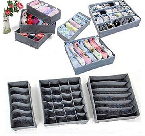 MeterMall Nieuw voor Brownylife Shop - 3 Stuks een set, opvouwbare Box/Bamboe houtskool Fibre Opbergdoos voor BH, ondergoed, nek, sokken