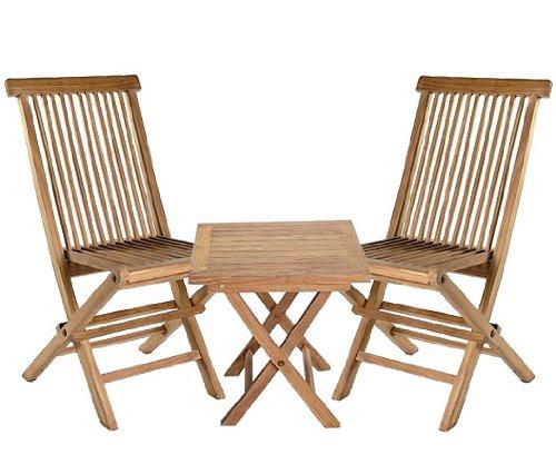 Salon de jardin 3 pièces avec 2 chaises pliables en teck-table - 50 x 50 cm et 2 chaises