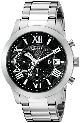 GUESS  Stainless Steel + Black Chronograph Bracelet Watch with Date. Color: Silver-Tone (Model: U0668G3)