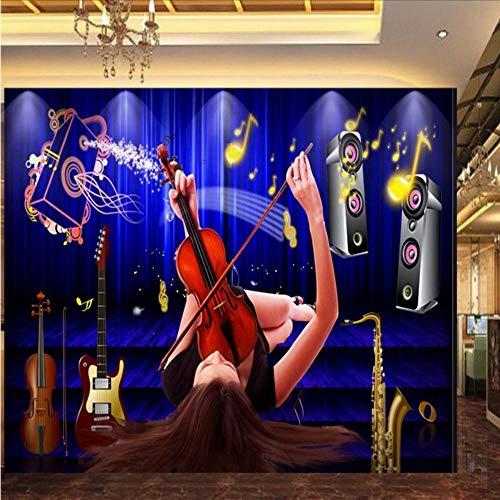 Lvabc aangepaste foto behang op maat Dazzling schoonheid viool muurschildering nachtclub bar ktv achtergrond behang 400x280cm