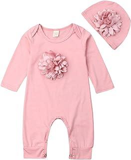 Newborn Infant Kids Baby Girl Floral Summer Romper Jumpsuit Playsuit Clothes Set 3D Flower Sleepwear Pajamas